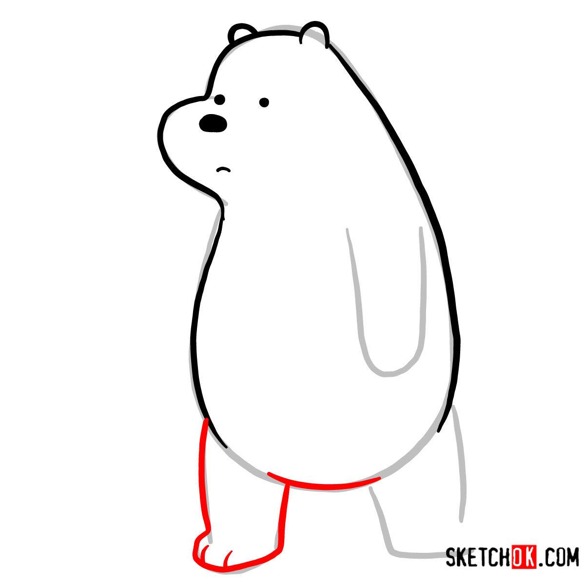 How to draw sad Ice Bear   We Bare Bears - step 05
