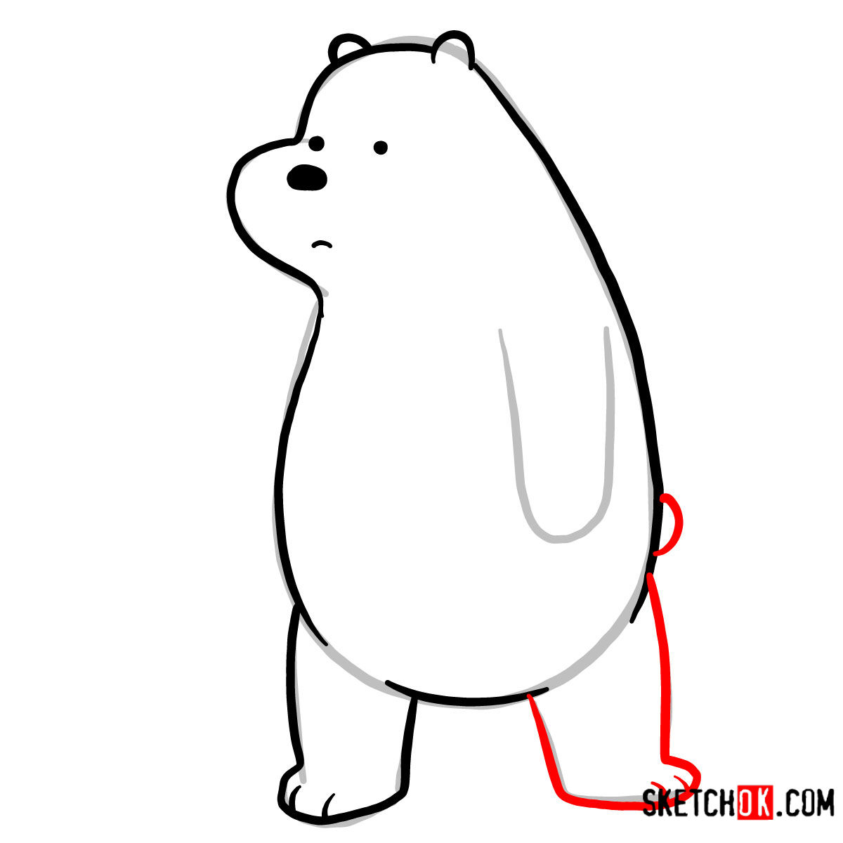 How to draw sad Ice Bear   We Bare Bears -  step 06