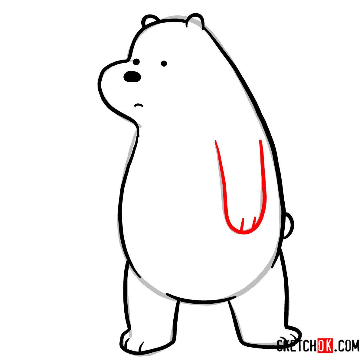 How to draw sad Ice Bear   We Bare Bears - step 07