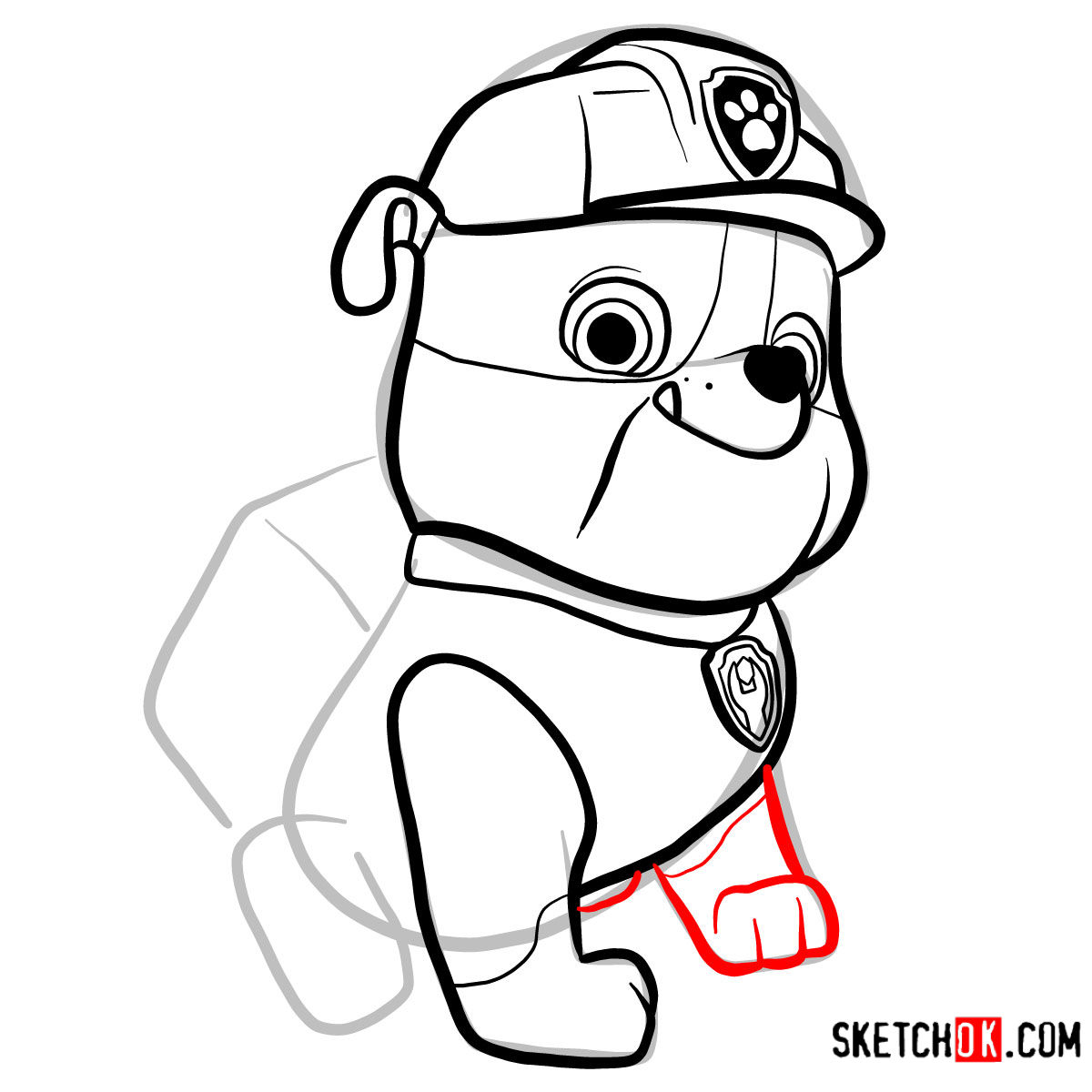 How to draw Rubble | Paw Patrol - step 08
