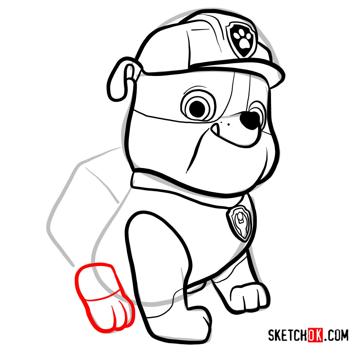How to draw Rubble | Paw Patrol - step 09