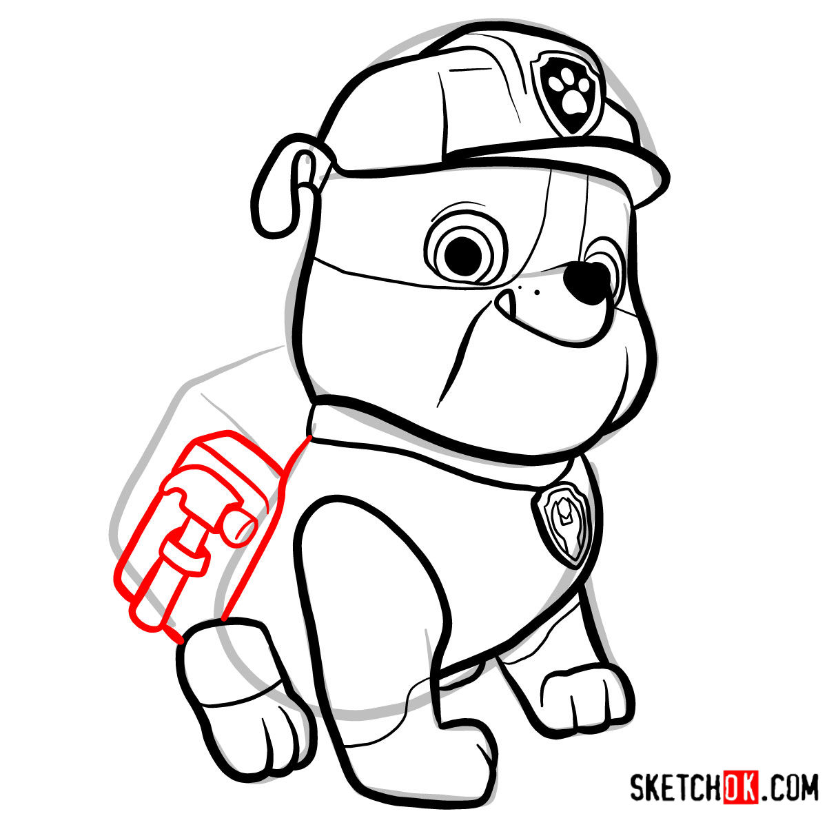 How to draw Rubble | Paw Patrol - step 10