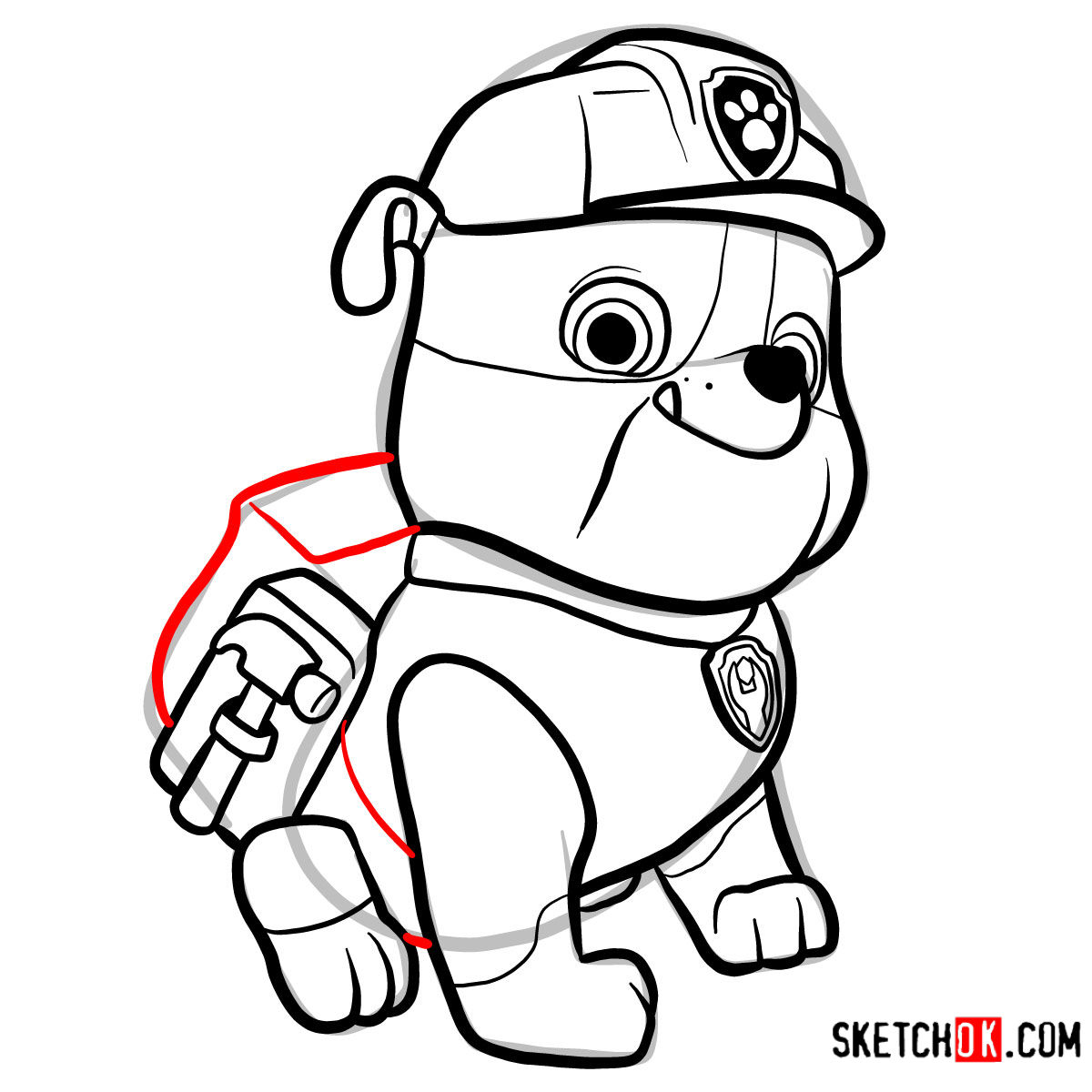 How to draw Rubble | Paw Patrol - step 11
