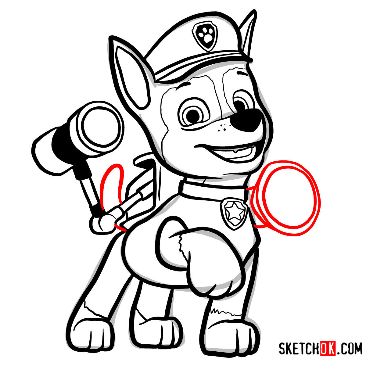 How to draw Chase | Paw Patrol - step 14