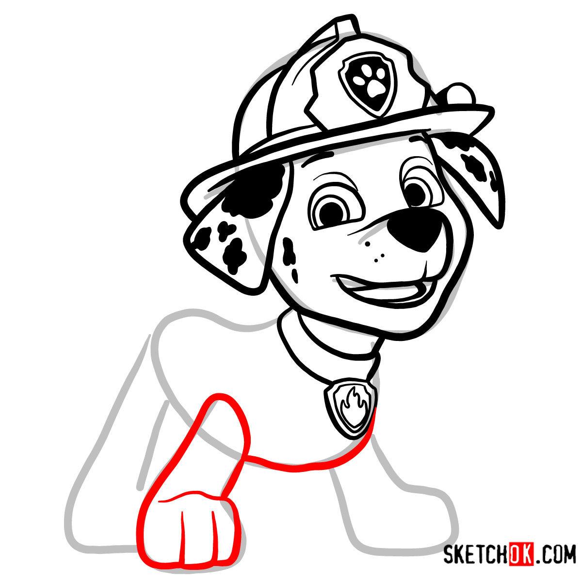 How to draw Marshall   Paw Patrol - step 09