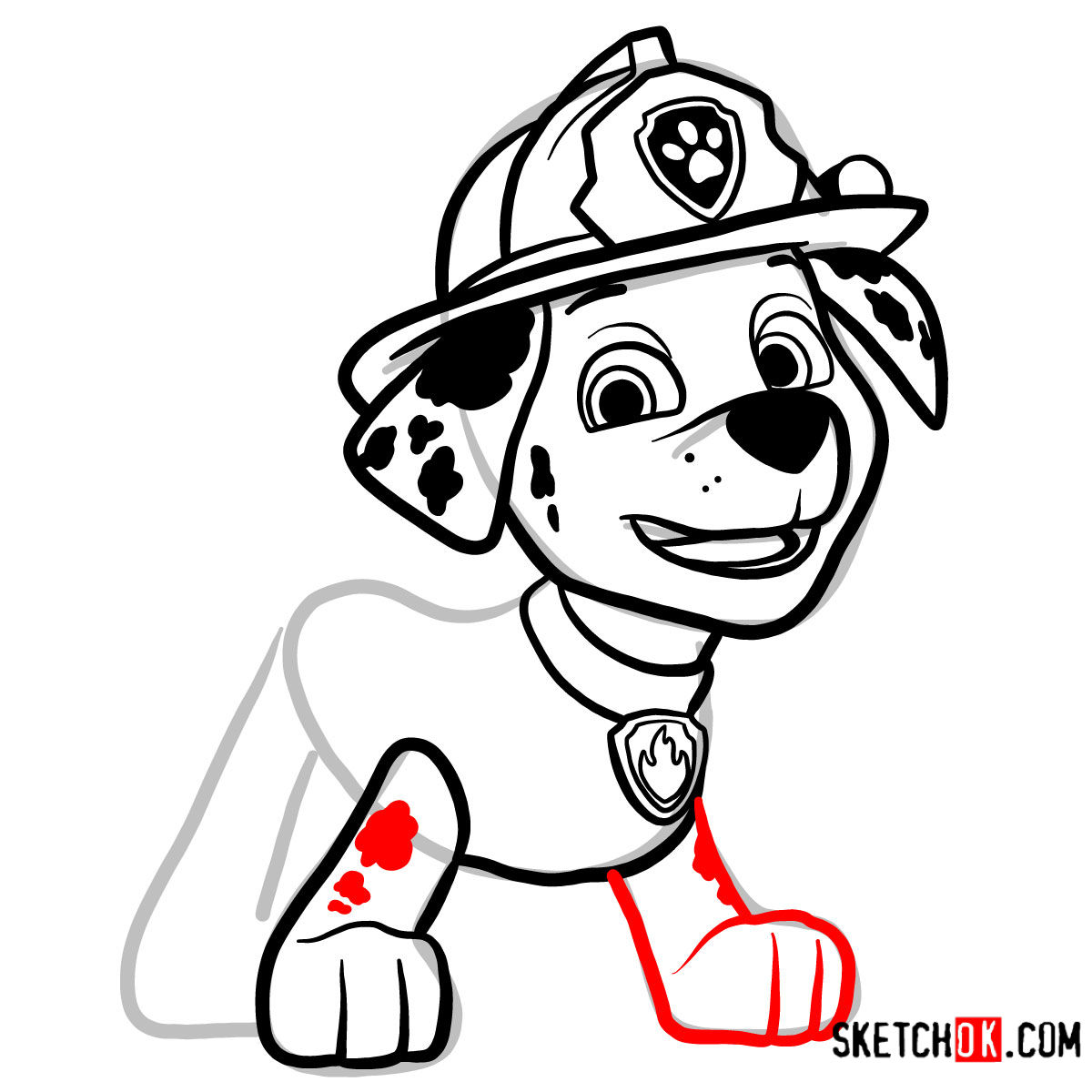 How to draw Marshall   Paw Patrol - step 10