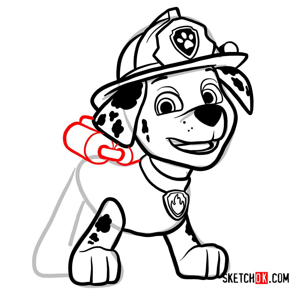 How to draw Marshall   Paw Patrol - step 11