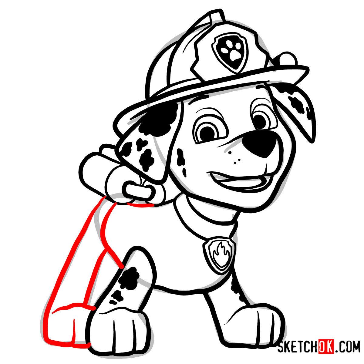 How to draw Marshall | Paw Patrol - step 12