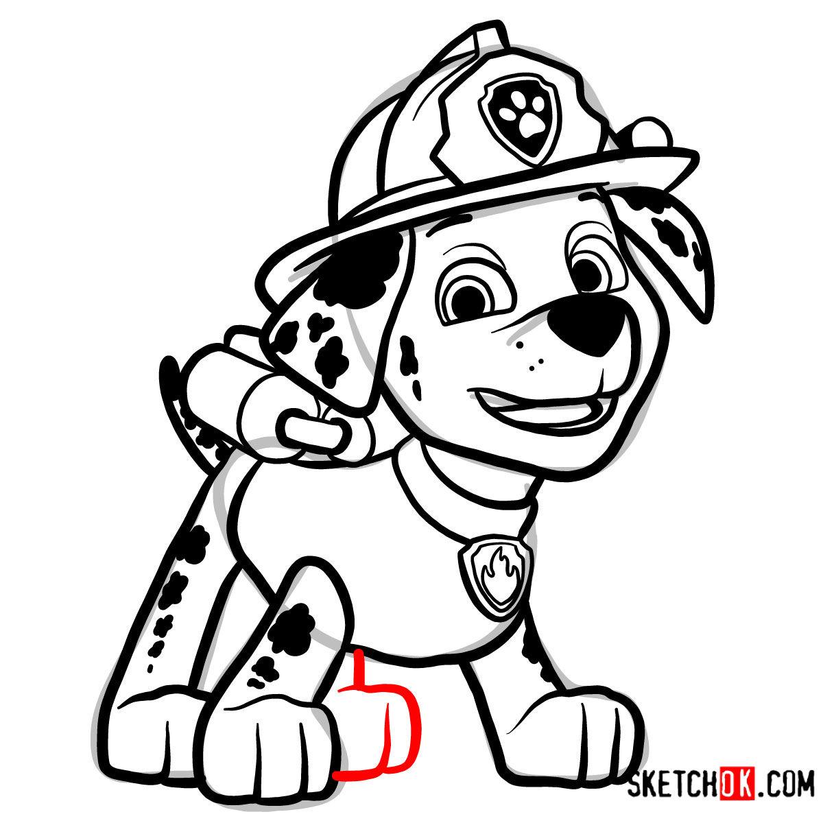 How to draw Marshall | Paw Patrol - step 14