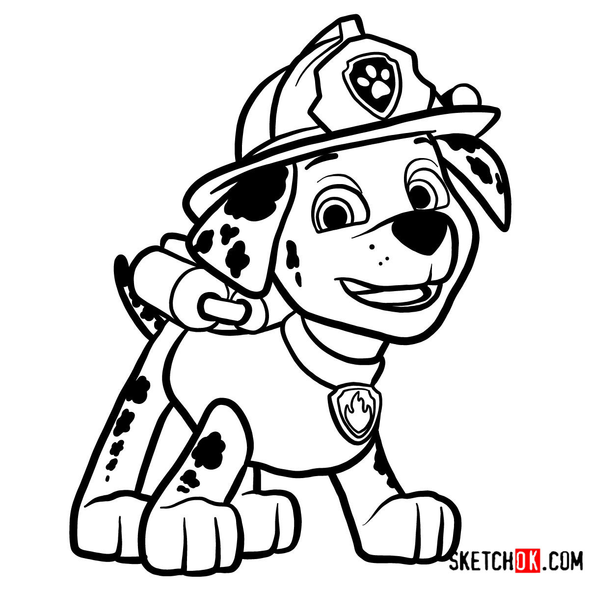 How to draw Marshall | Paw Patrol