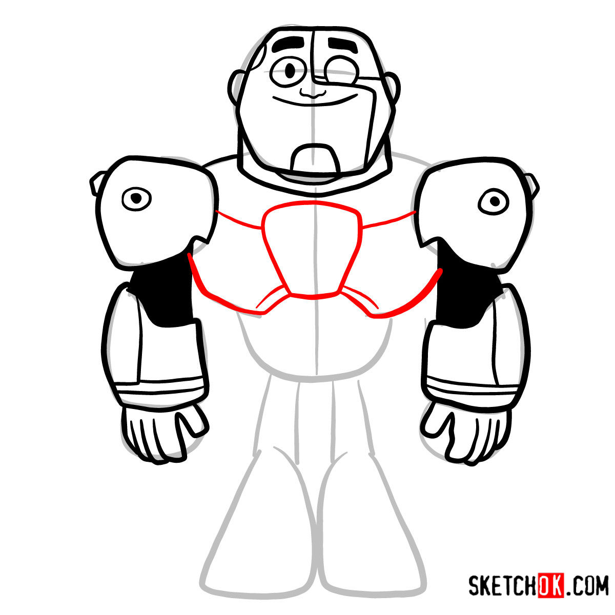 How to draw Cyborg chibi | Teen Titans - step 07