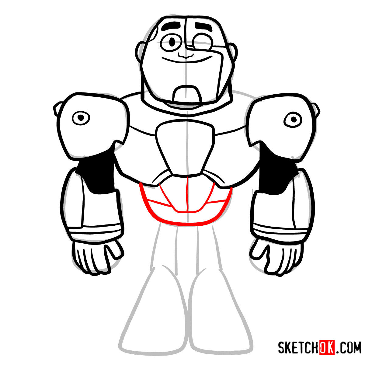 How to draw Cyborg chibi | Teen Titans - step 08