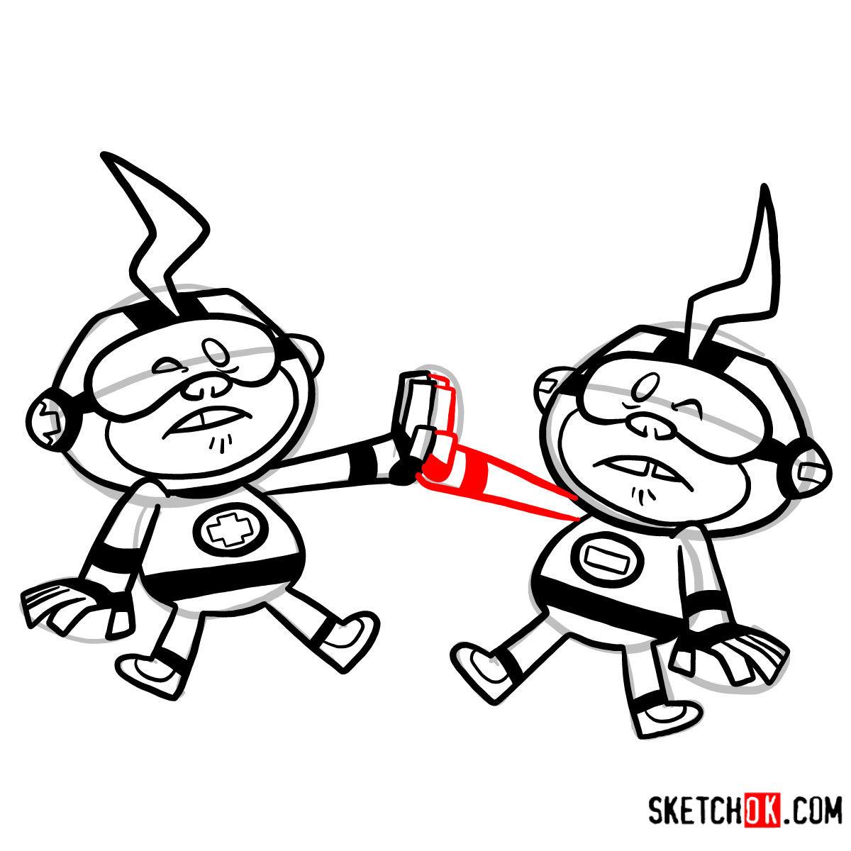How to draw Más y Menos | Teen Titans - step 14