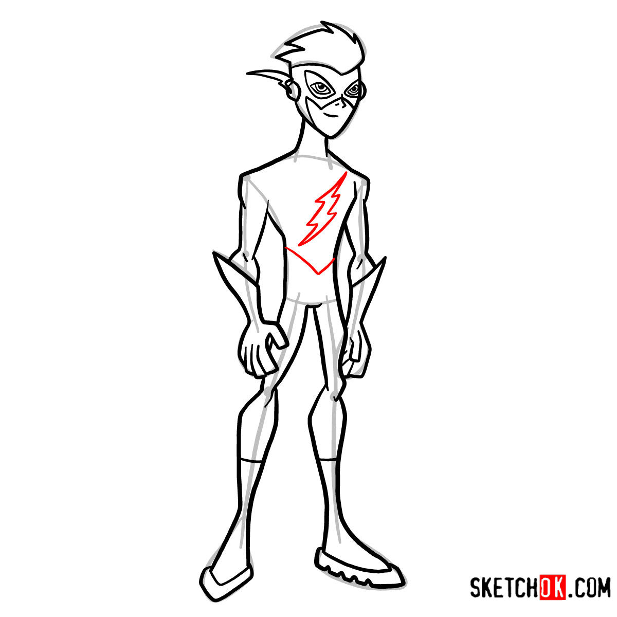 How to draw Kid Flash | Teen Titans - step 11
