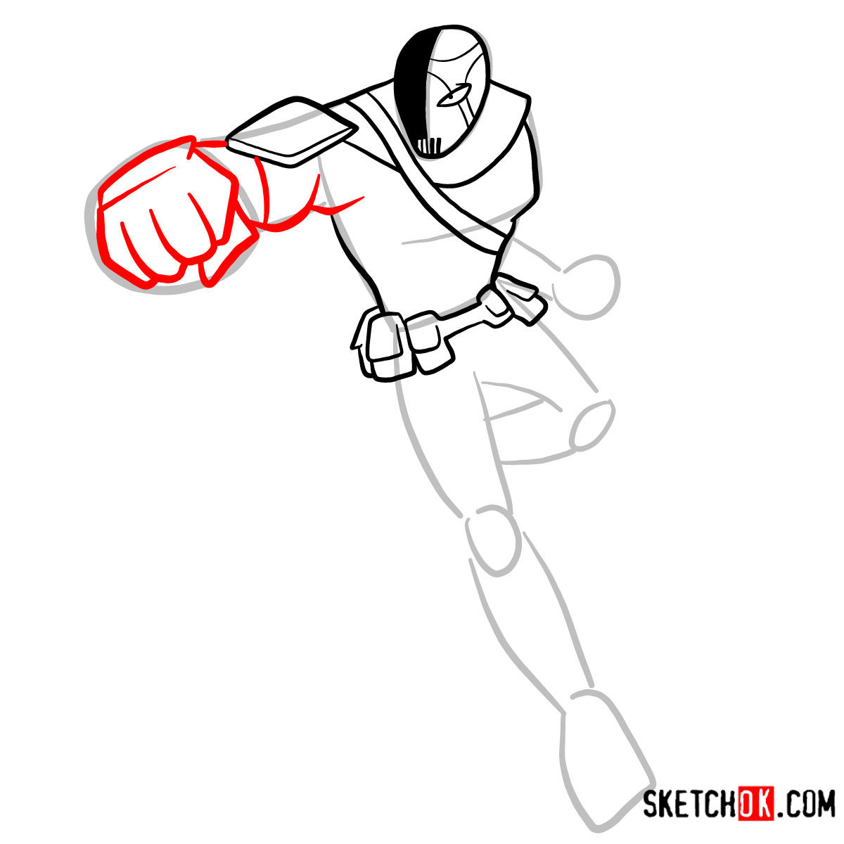 How to draw Slade | Teen Titans -  step 06