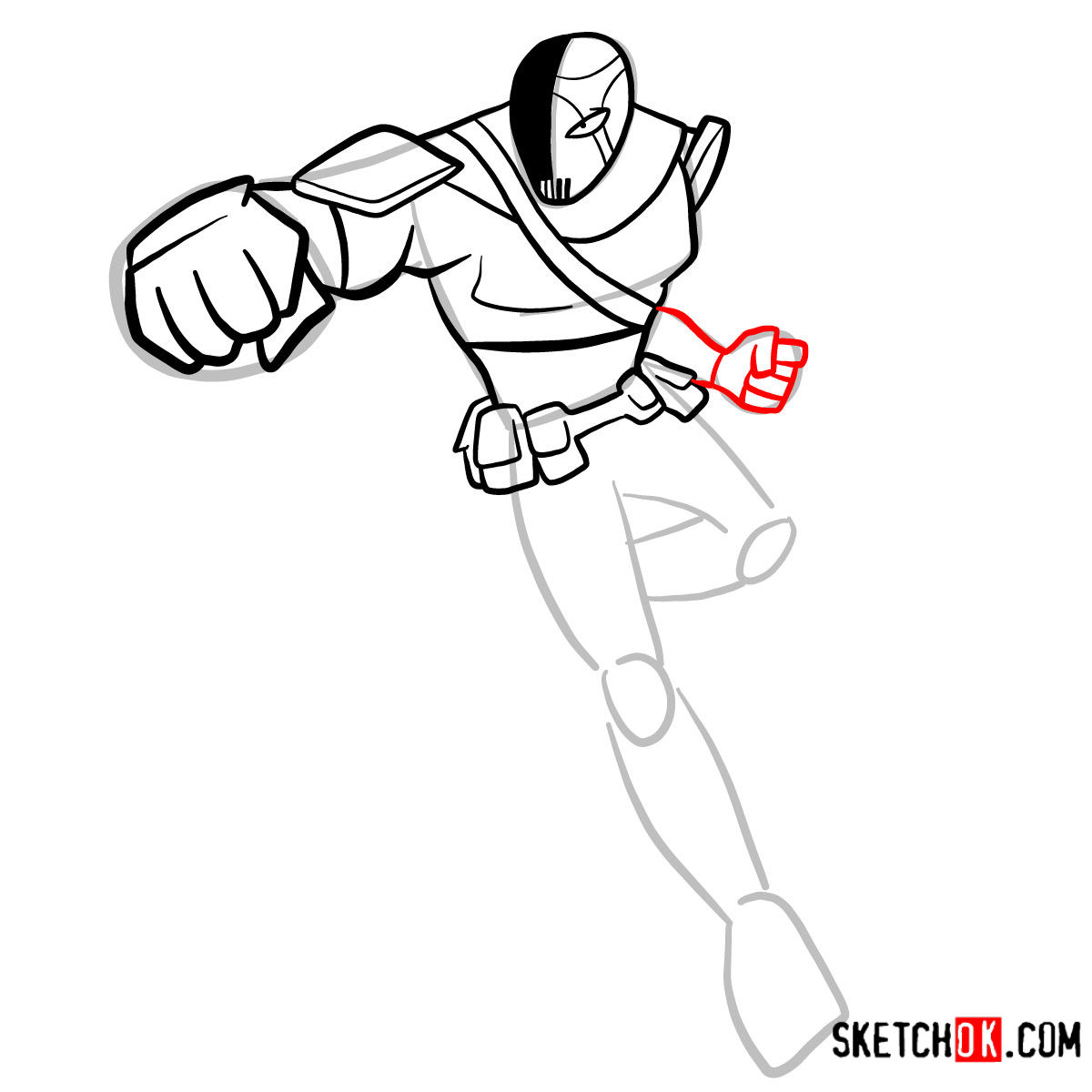 How to draw Slade | Teen Titans - step 08