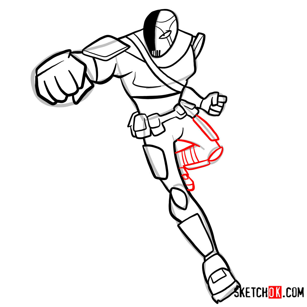 How to draw Slade | Teen Titans - step 10
