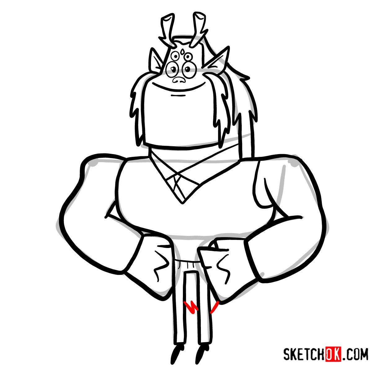 How to draw Trigon | Teen Titans - step 10