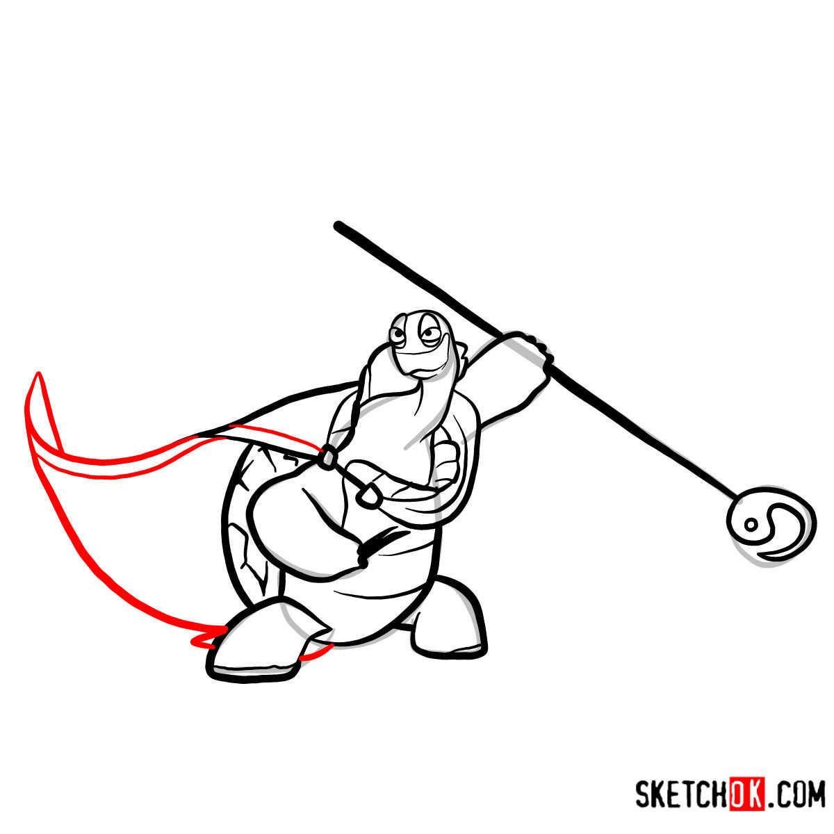 How to draw Master Oogway | Kung Fu Panda - step 11