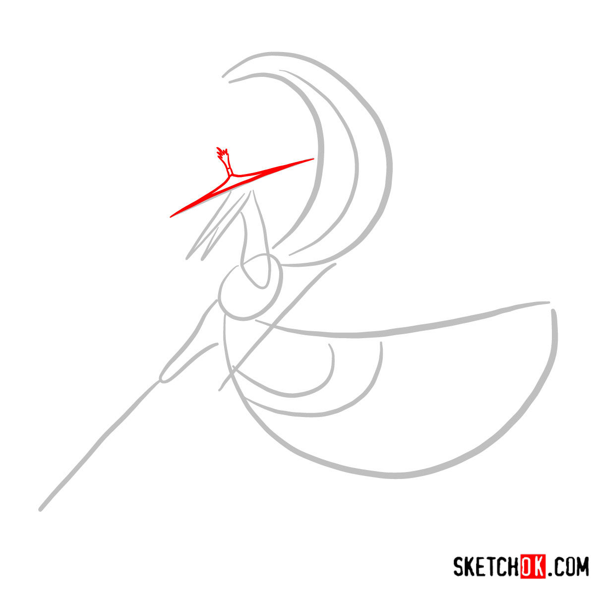 How to draw Master Crane | Kung Fu Panda - step 02