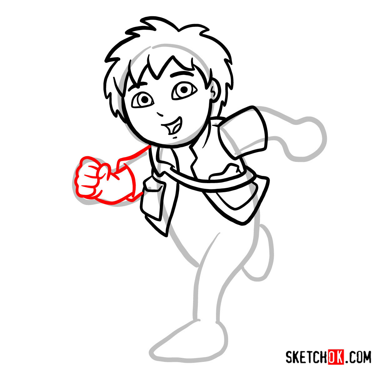 How to draw Diego | Dora the Explorer - step 07