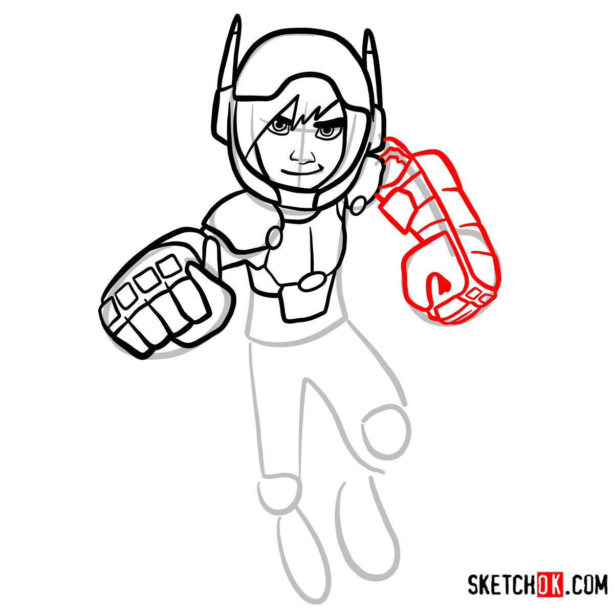 How to draw Hiro Hamada in his superhero suit - step 09