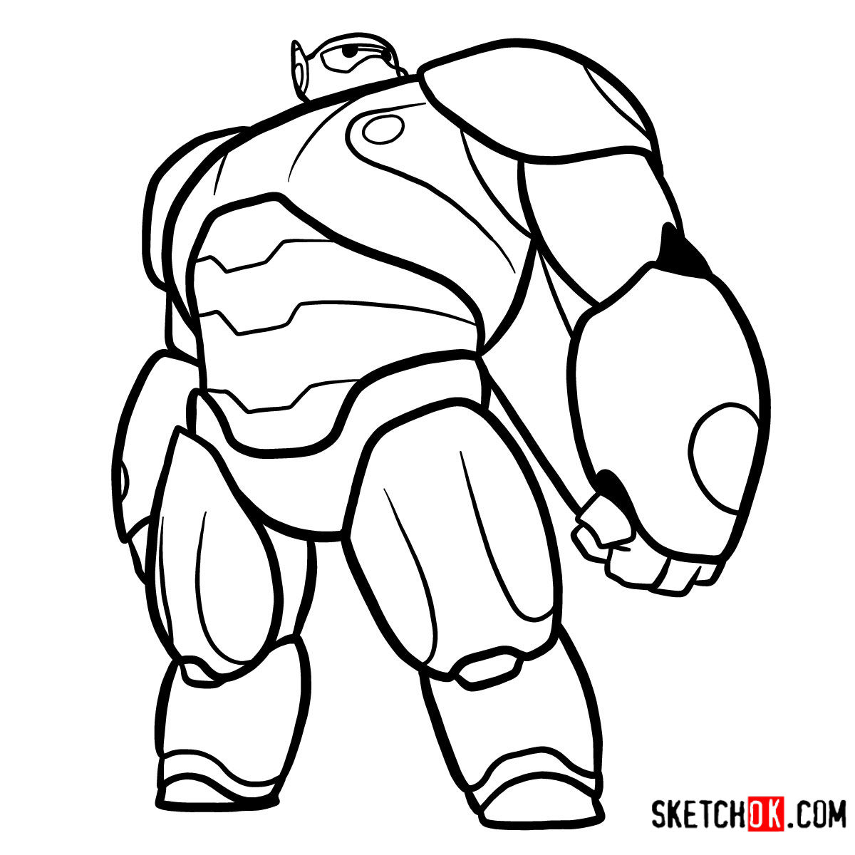 How to draw Baymax in his red armored suit