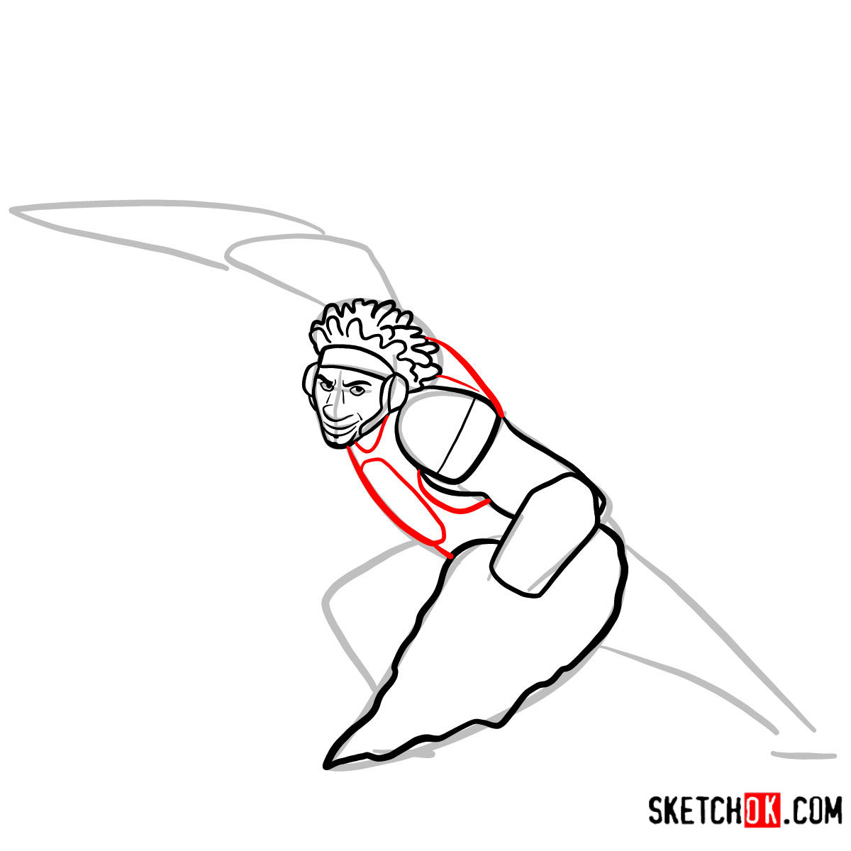 How to draw Wasabi as a superhero | Big Hero 6 - step 07