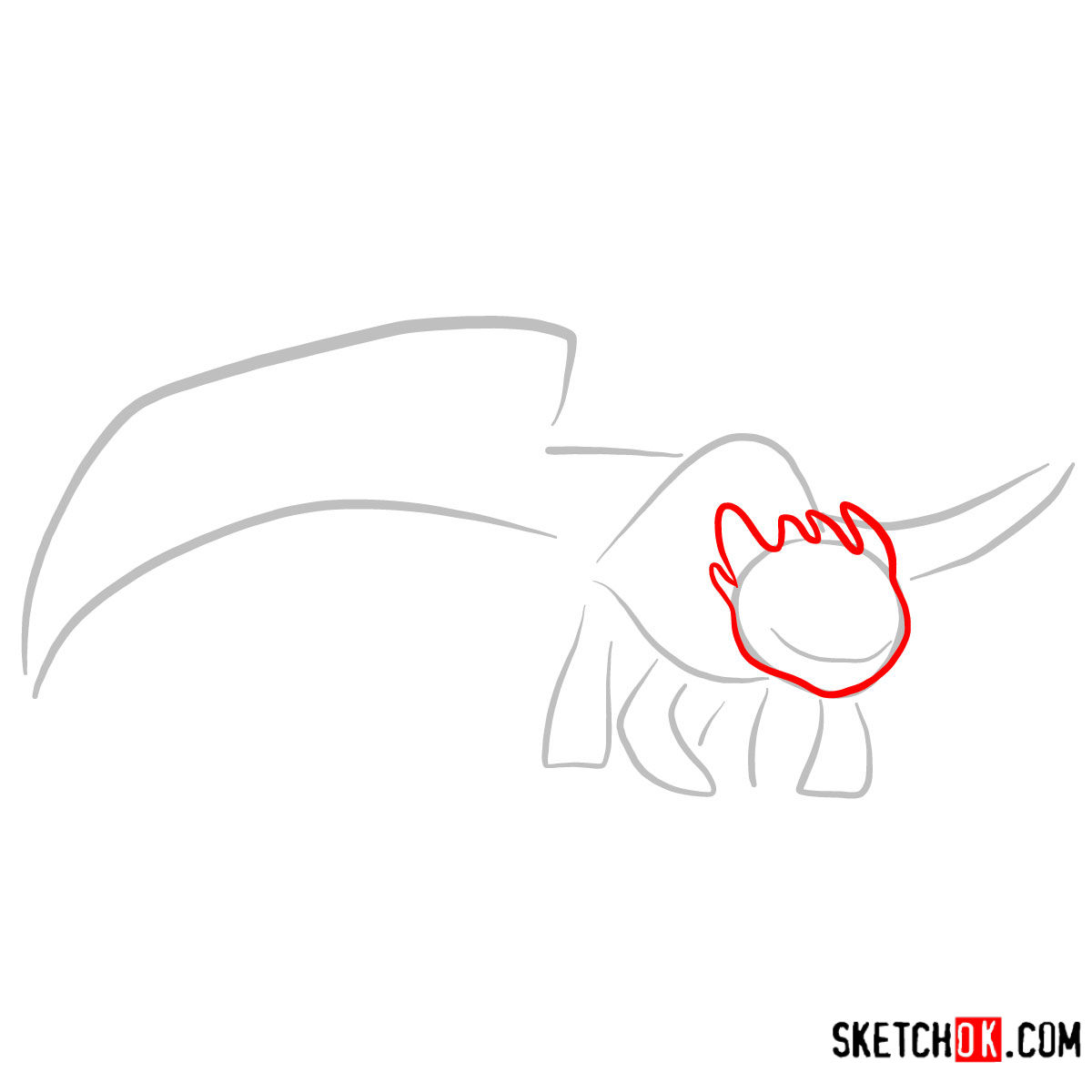How to draw The Night Fury Dragon | How to Train Your Dragon - step 03