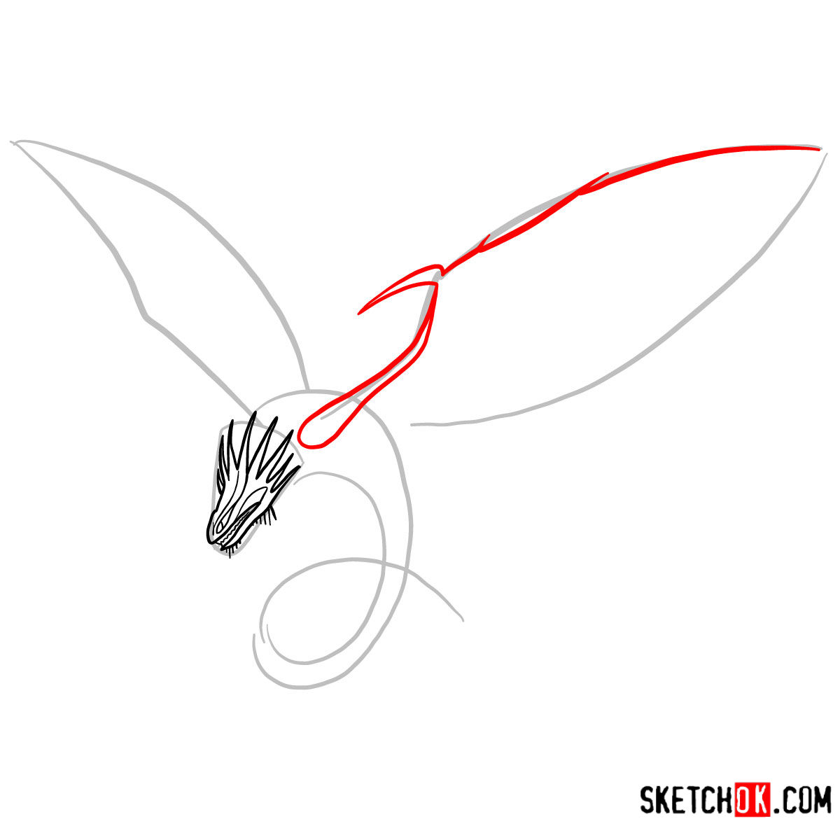 How to draw The Skrill Dragon | How to Train Your Dragon - step 04