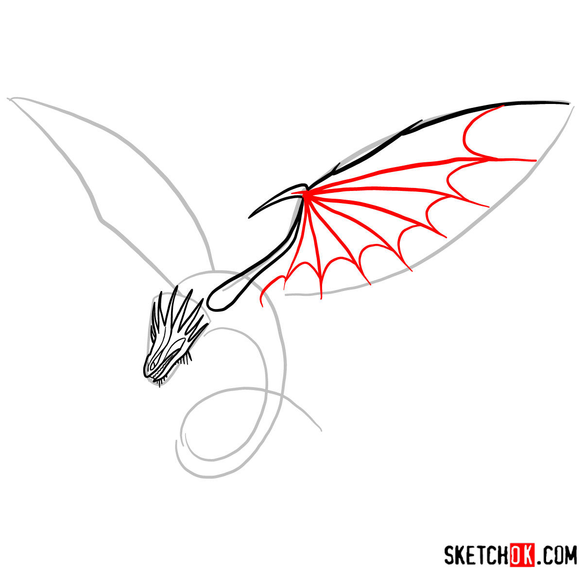 How to draw The Skrill Dragon | How to Train Your Dragon - step 05