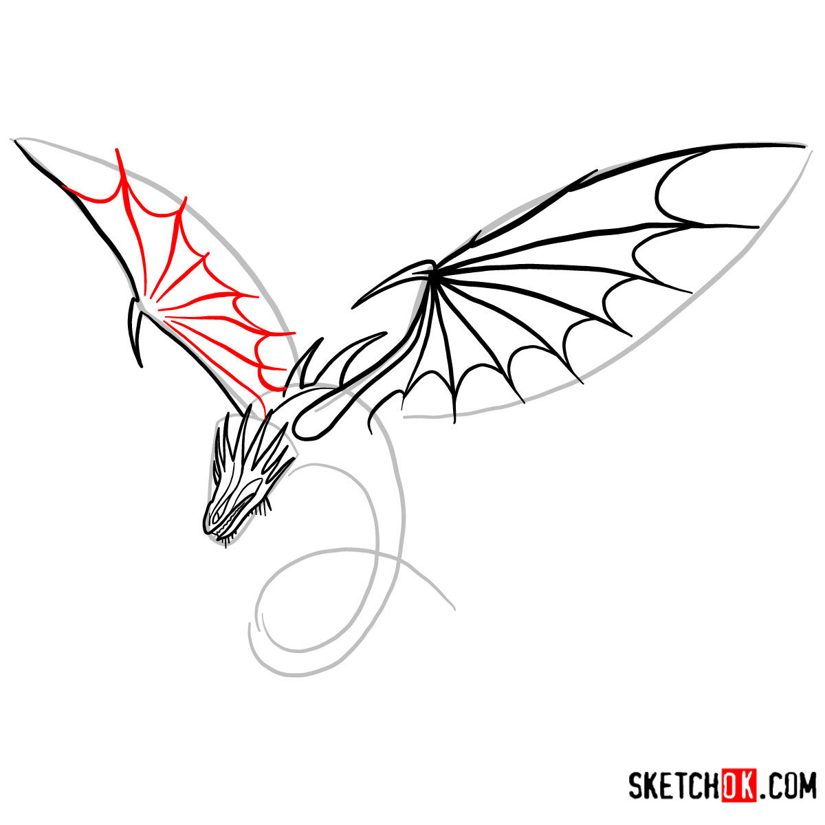 How to draw The Skrill Dragon | How to Train Your Dragon - step 07
