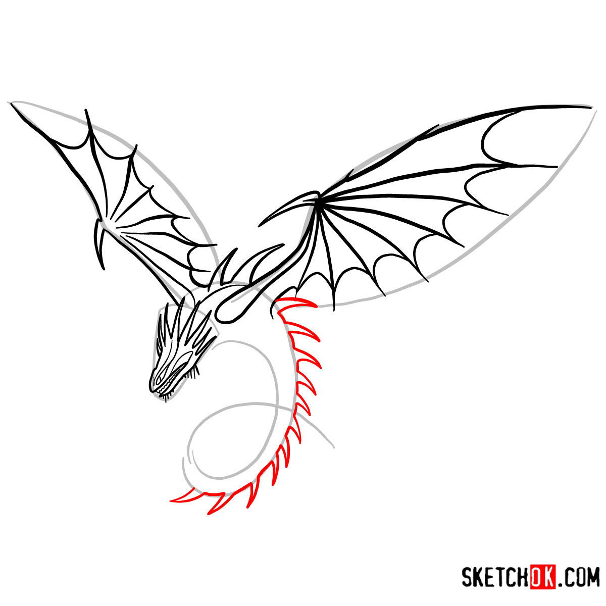 How to draw The Skrill Dragon | How to Train Your Dragon - step 08
