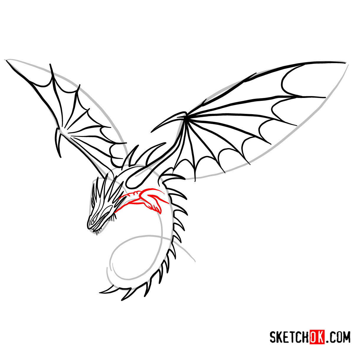 How to draw The Skrill Dragon | How to Train Your Dragon - step 09