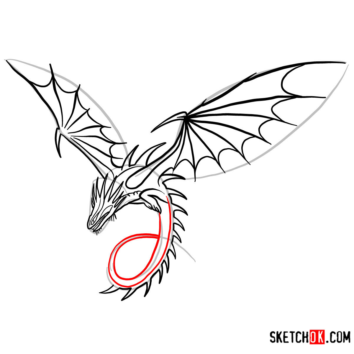 How to draw The Skrill Dragon | How to Train Your Dragon - step 10