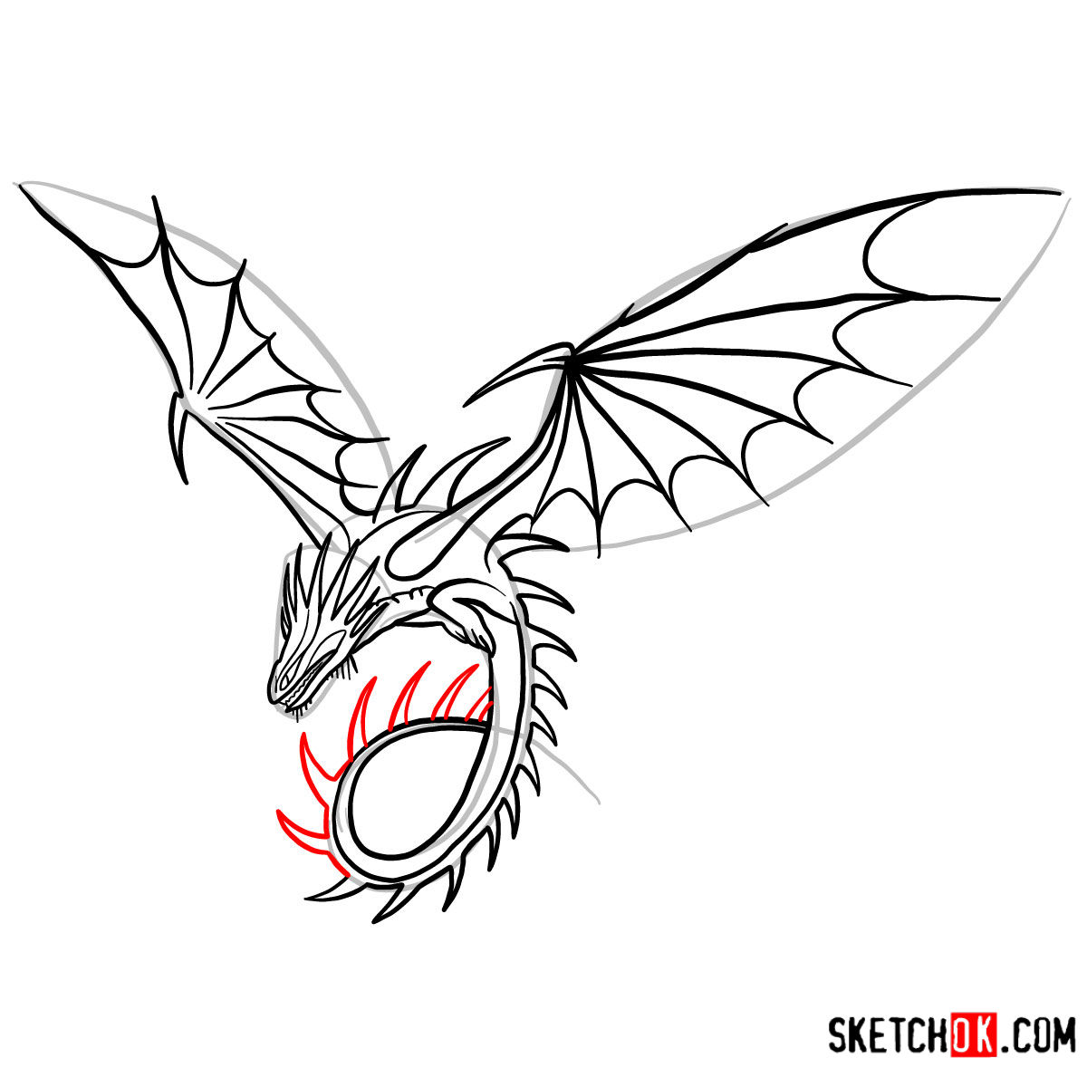 How to draw The Skrill Dragon | How to Train Your Dragon - step 11