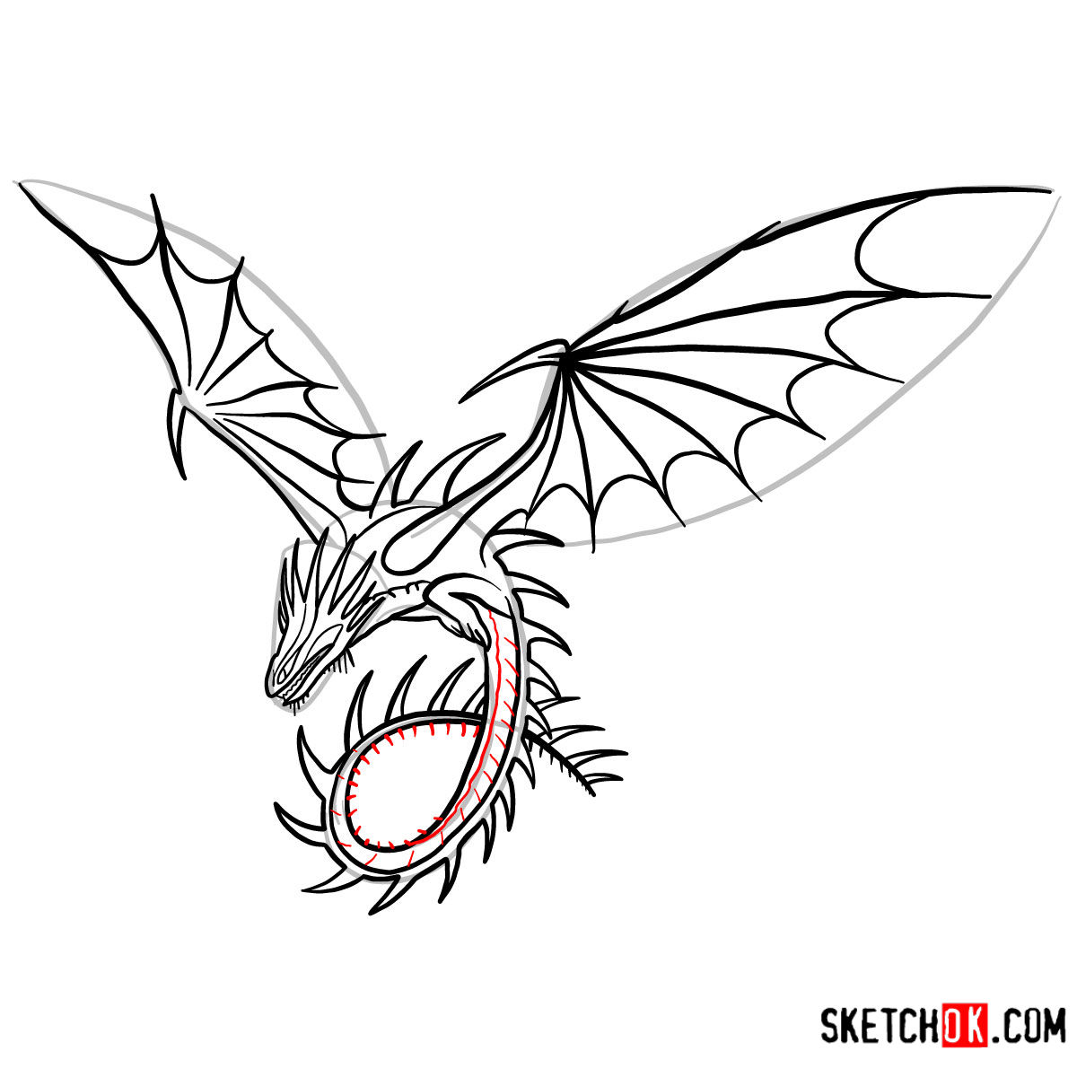 How to draw The Skrill Dragon | How to Train Your Dragon - step 13