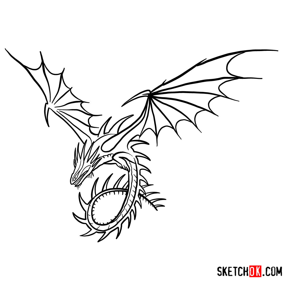 How to draw The Skrill Dragon | How to Train Your Dragon - coloring