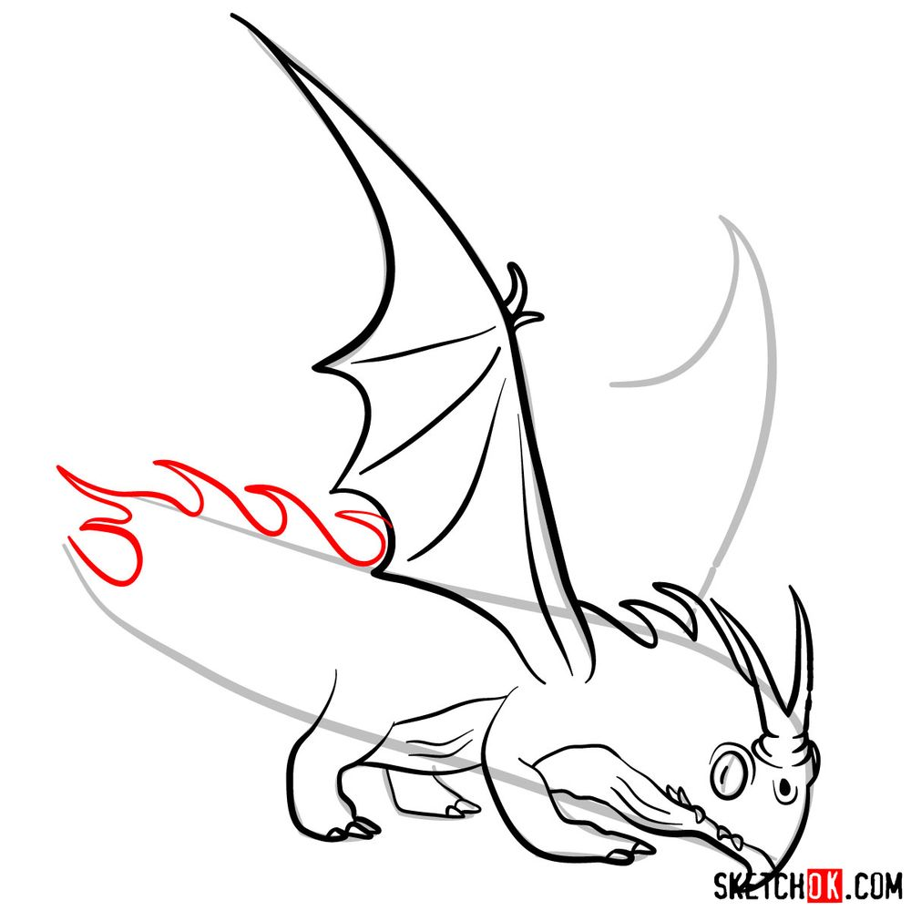 How to draw the Night Terror dragon - step 11