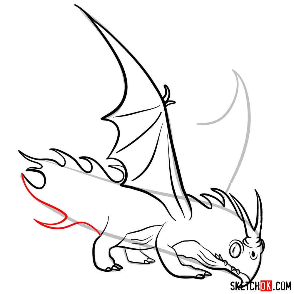 How to draw the Night Terror dragon - step 12