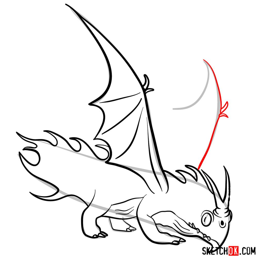How to draw the Night Terror dragon - step 13