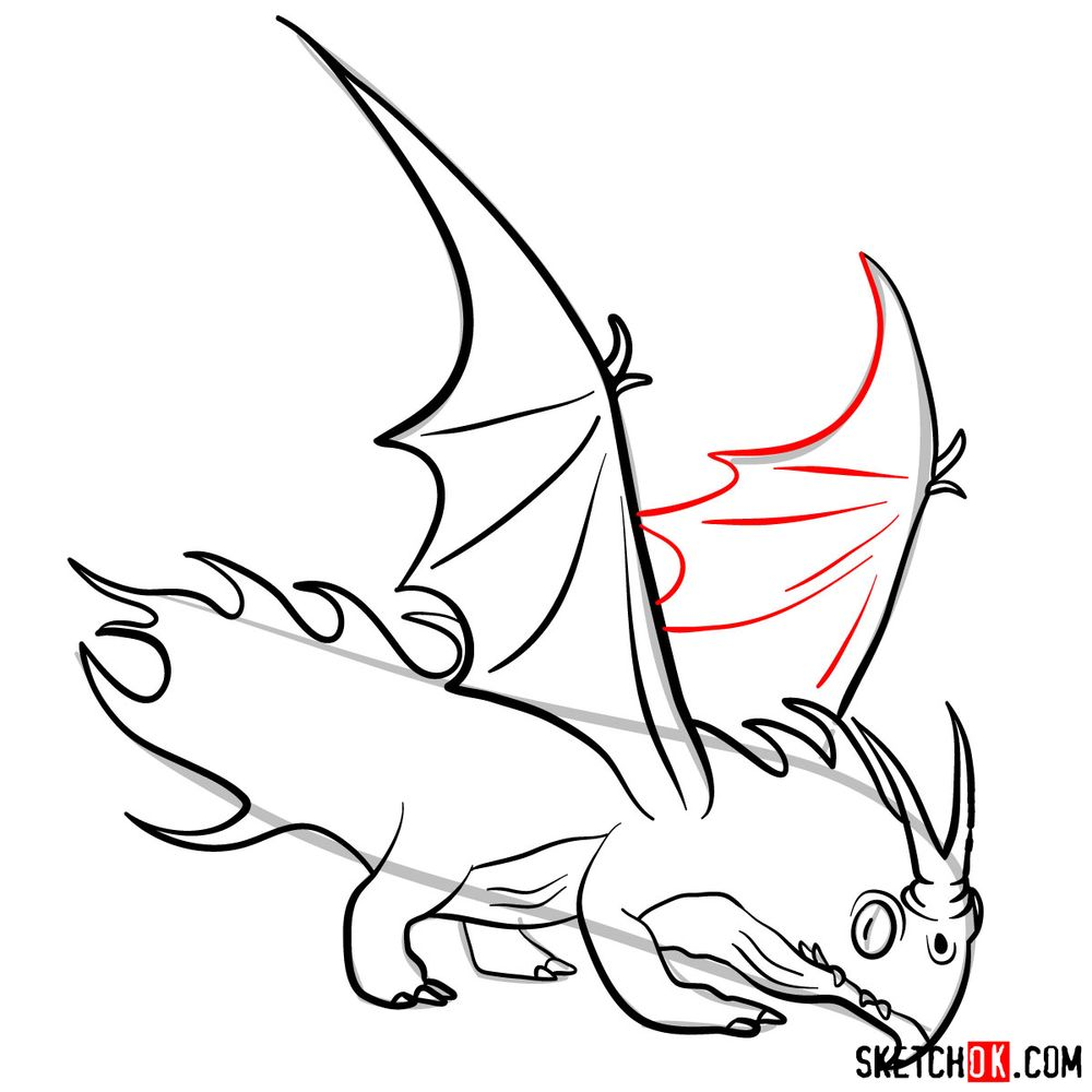How to draw the Night Terror dragon - step 14