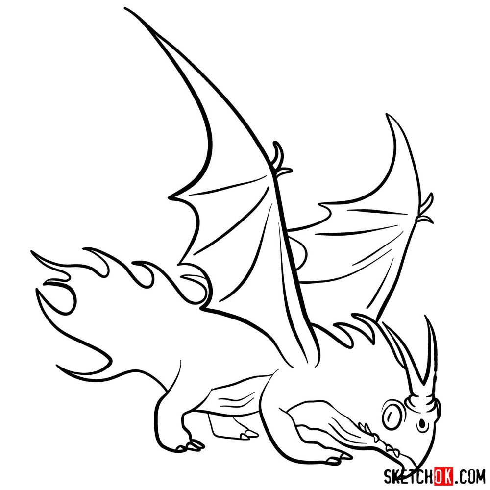 How to draw the Night Terror dragon - step 15