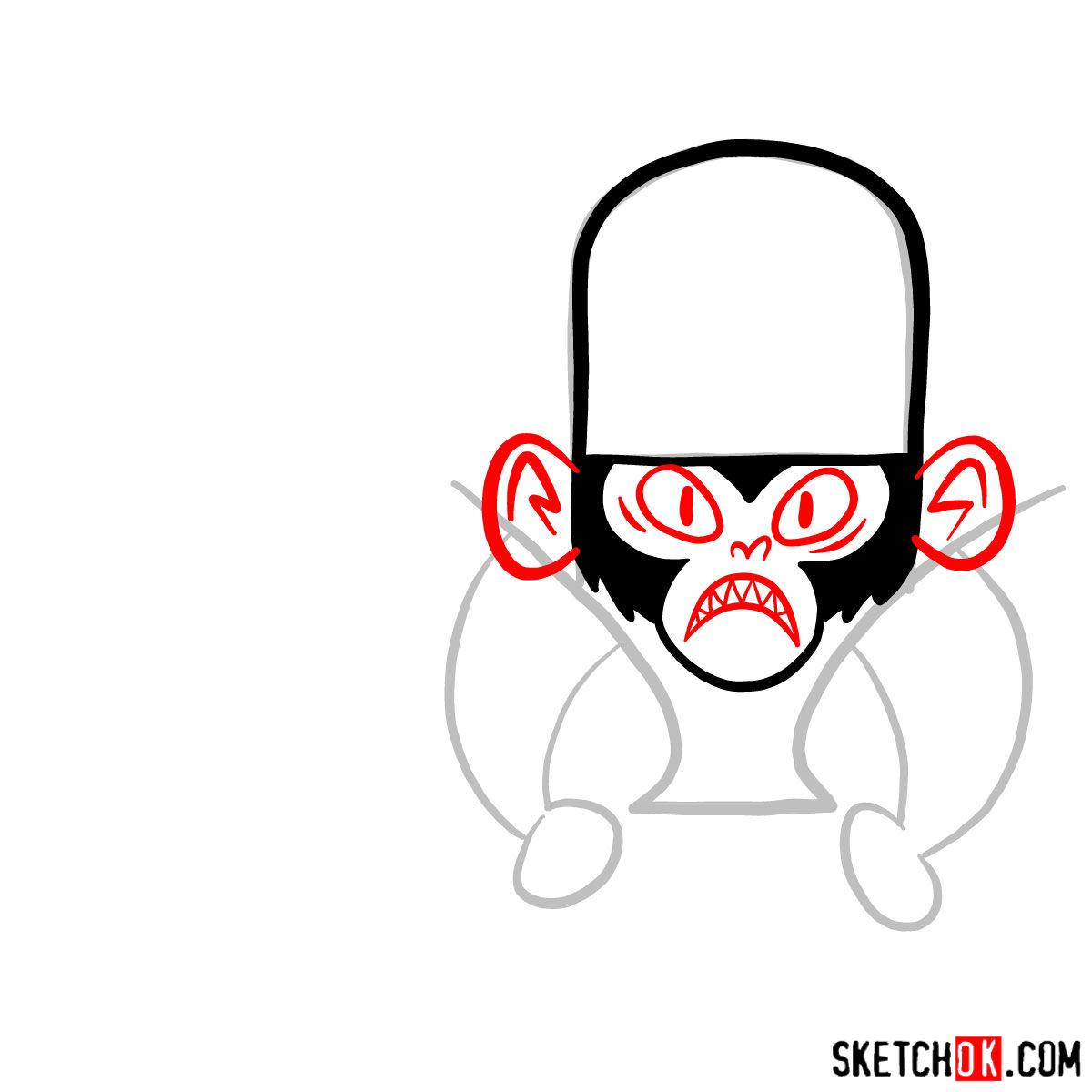 How to draw Mojo Jojo from Powerpuff Girls - step 04