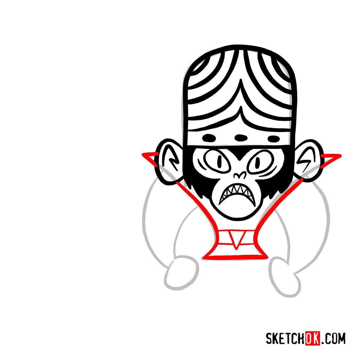 How to draw Mojo Jojo from Powerpuff Girls - step 06