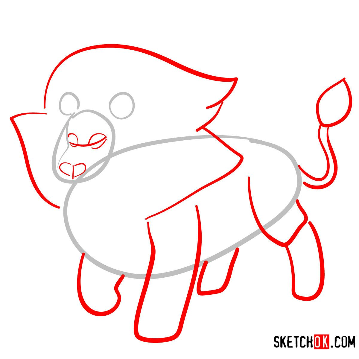 How to draw Lion | Steven Universe - step 02