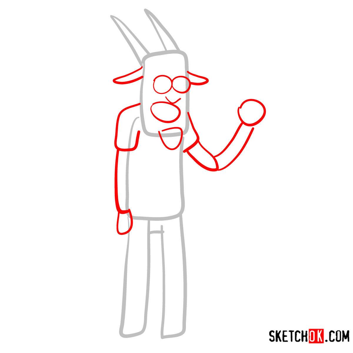 How to draw Thomas | Regular Show - step 02