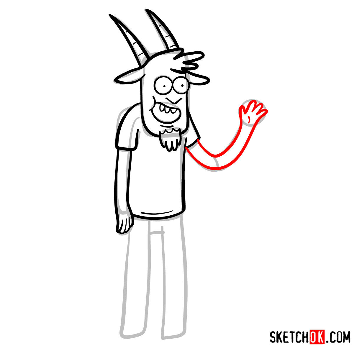 How to draw Thomas | Regular Show - step 08