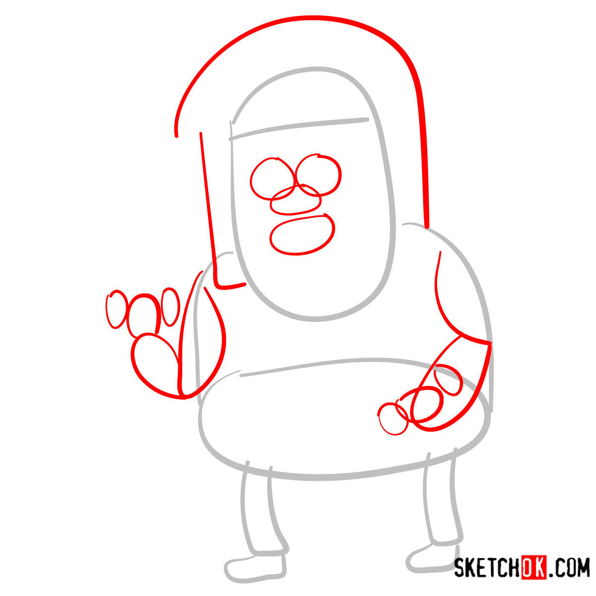 How to draw Muscle Man | Regular Show - step 02