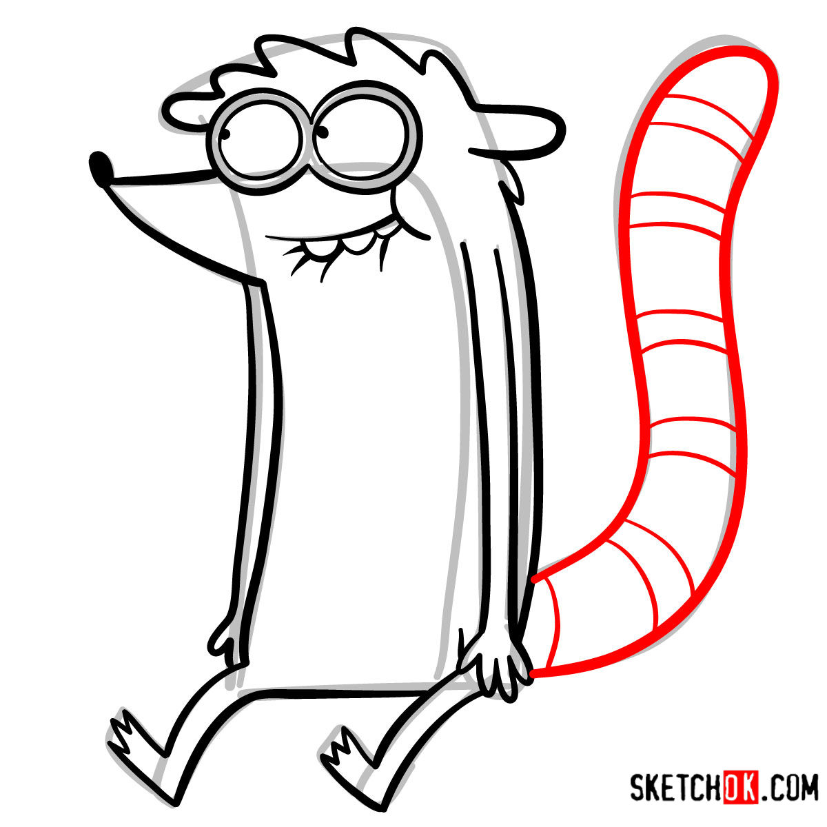 How to draw Rigby | Regular Show - step 09